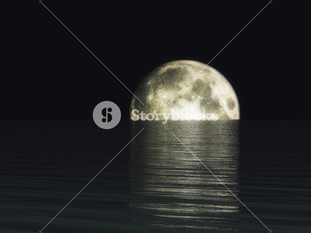 Digital Visualization Of A Moonset
