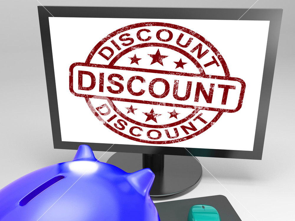 Discount Stamp Shows Promotion, Reduction And Clearance