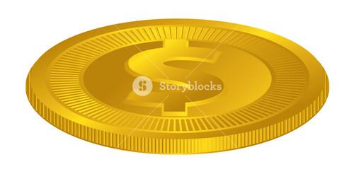 Dollar Symbol Gold Coin Vector