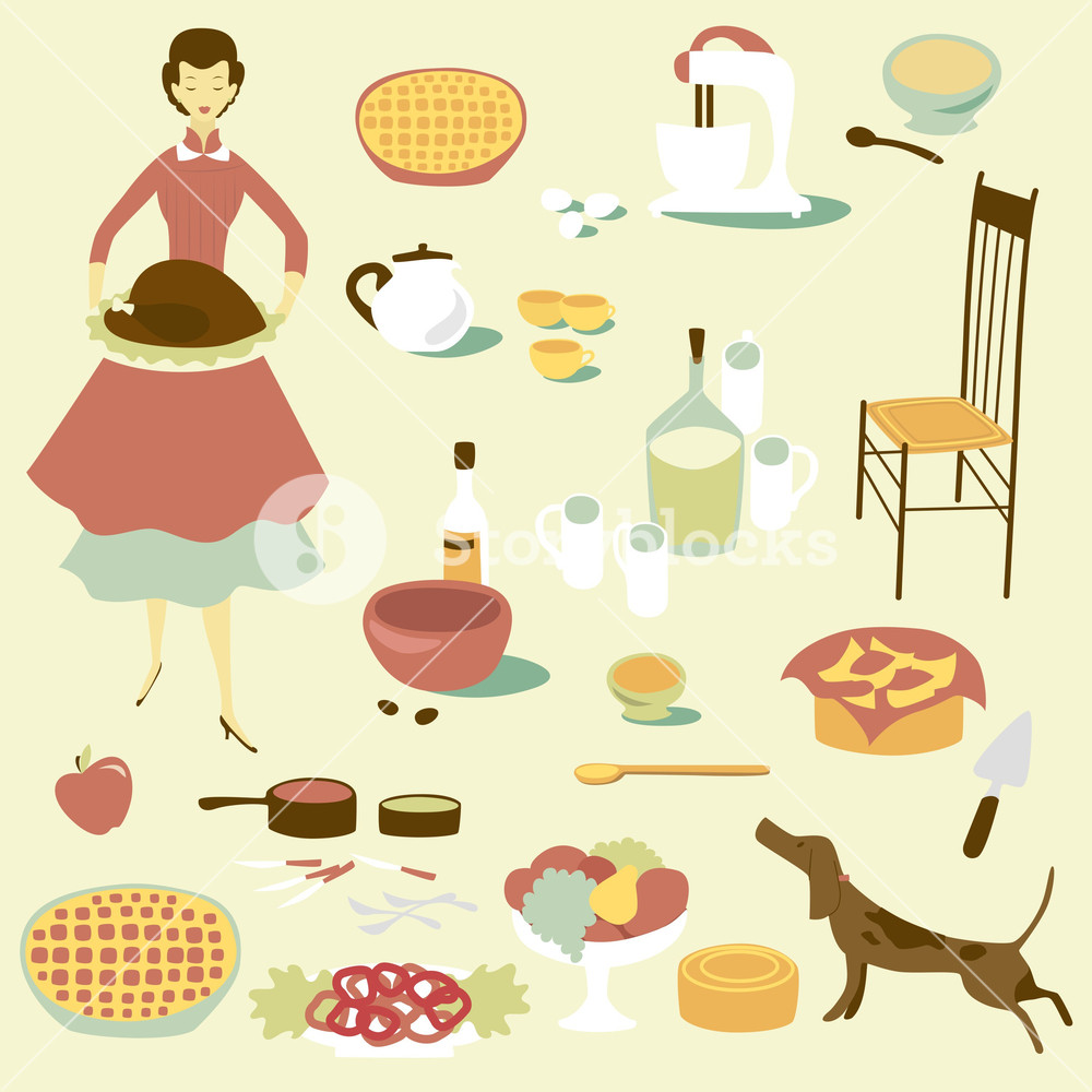 Domestic Diva And A Set Of Kitchen Equipment And Food