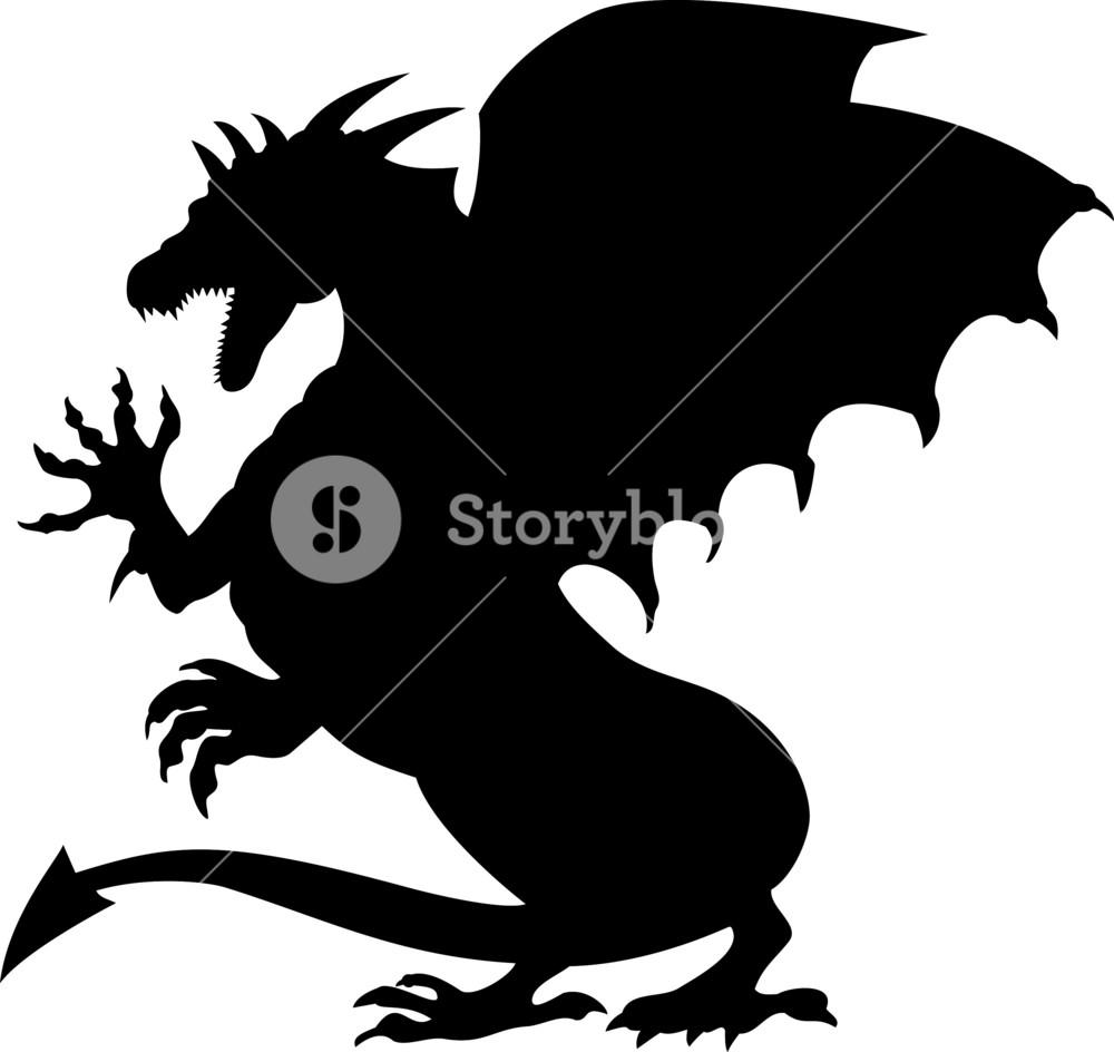 Dragon Fighting Silhouette