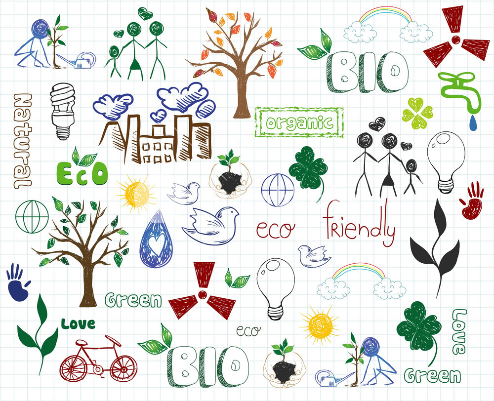 Eco-friendly Doodles Vector Illustration