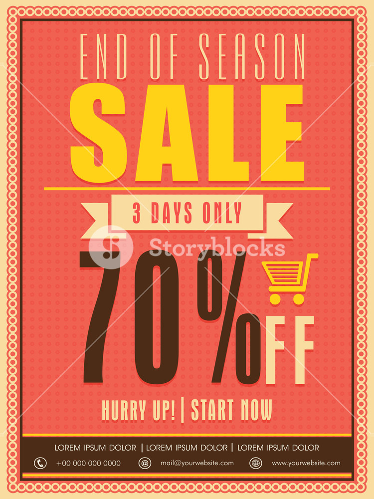 End of season sale flyer poster or template with limited time discount offer.