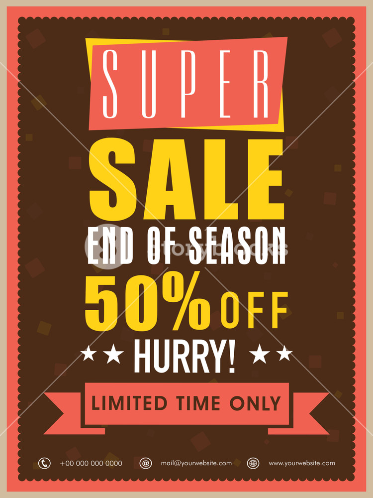 End of season super sale flyer banner or template with discount offer for limited time only.