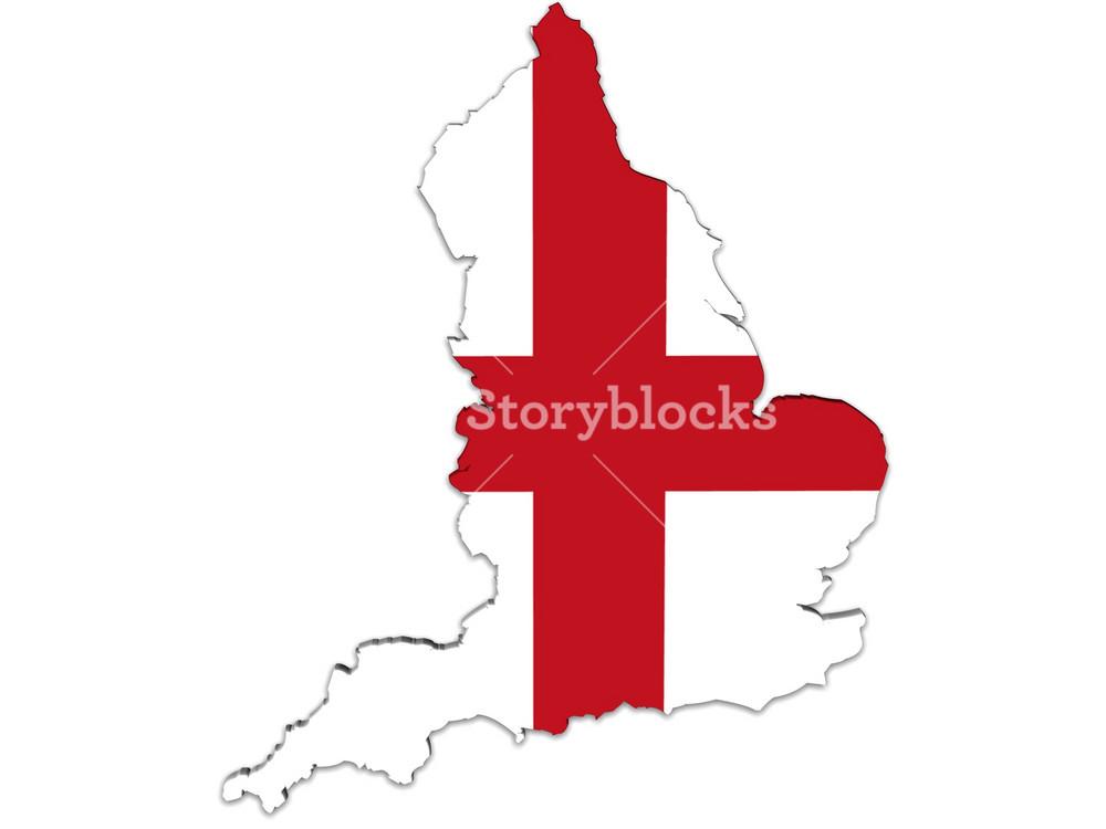 England Map And Flag