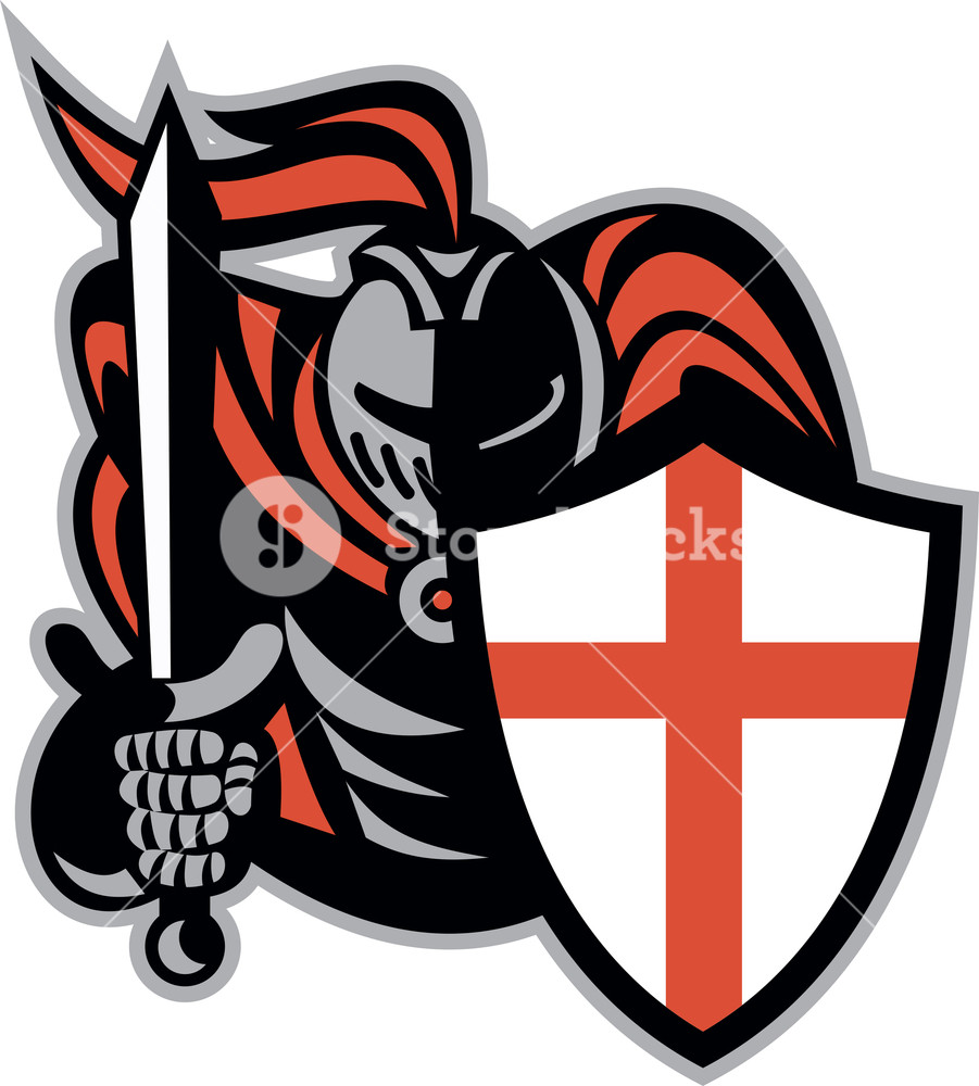 English Knight With Sword England Shield Retro