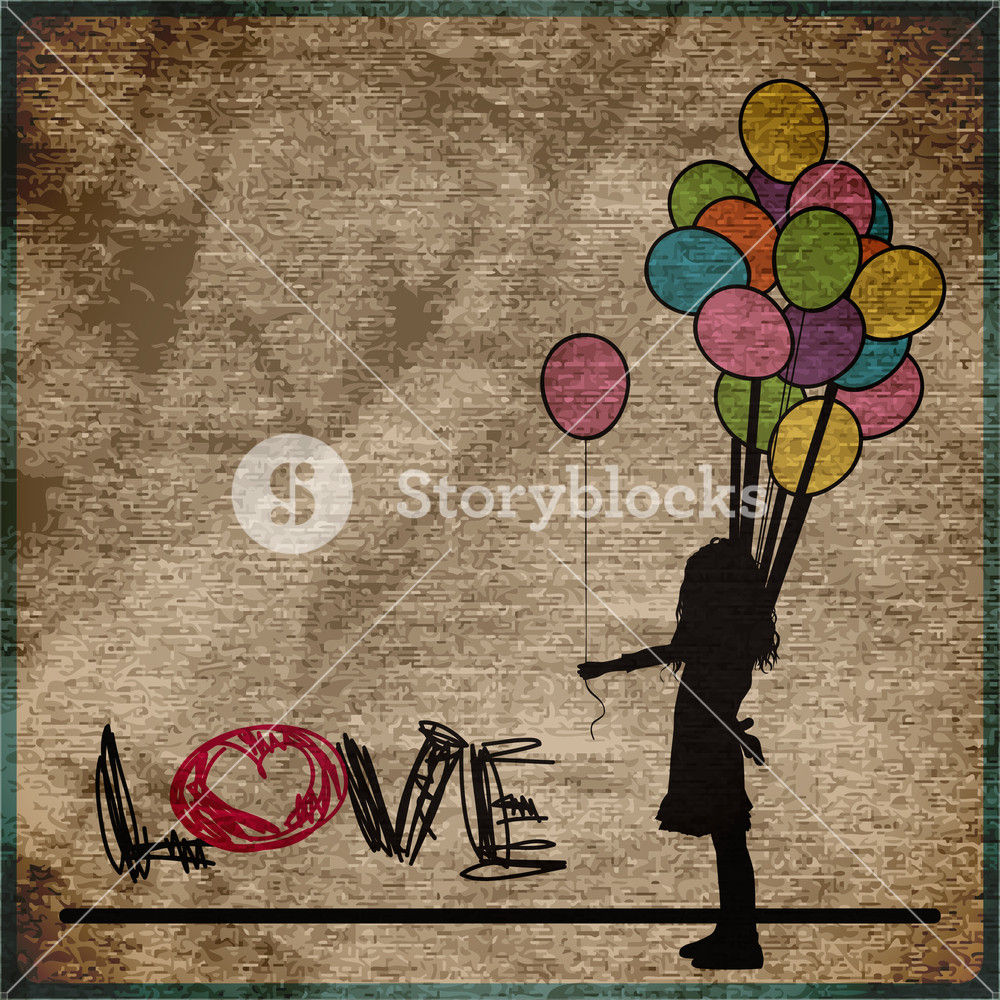 Eps10 Vintage Background With Girl And Balloons