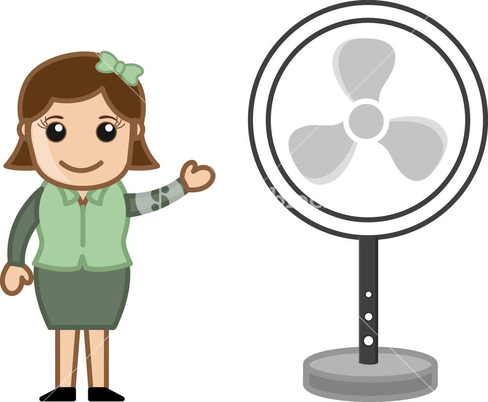 Fan - Office Character - Vector Illustration