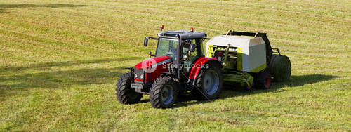 farming tractor in panoramic view