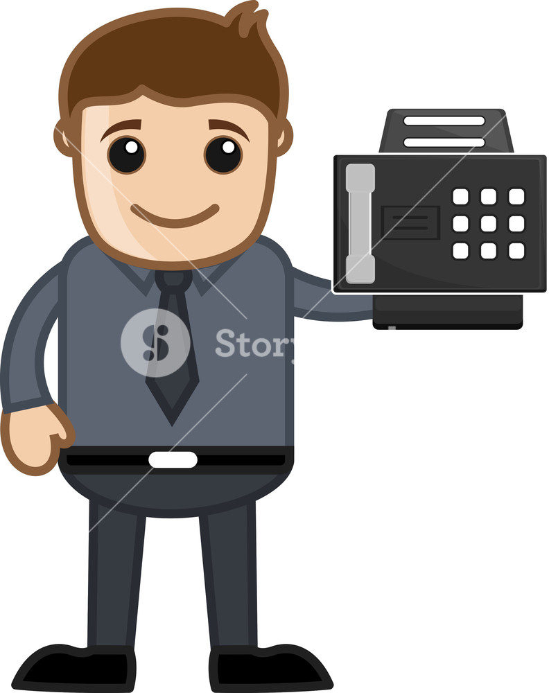 Fax Machine - Office Character - Vector Illustration