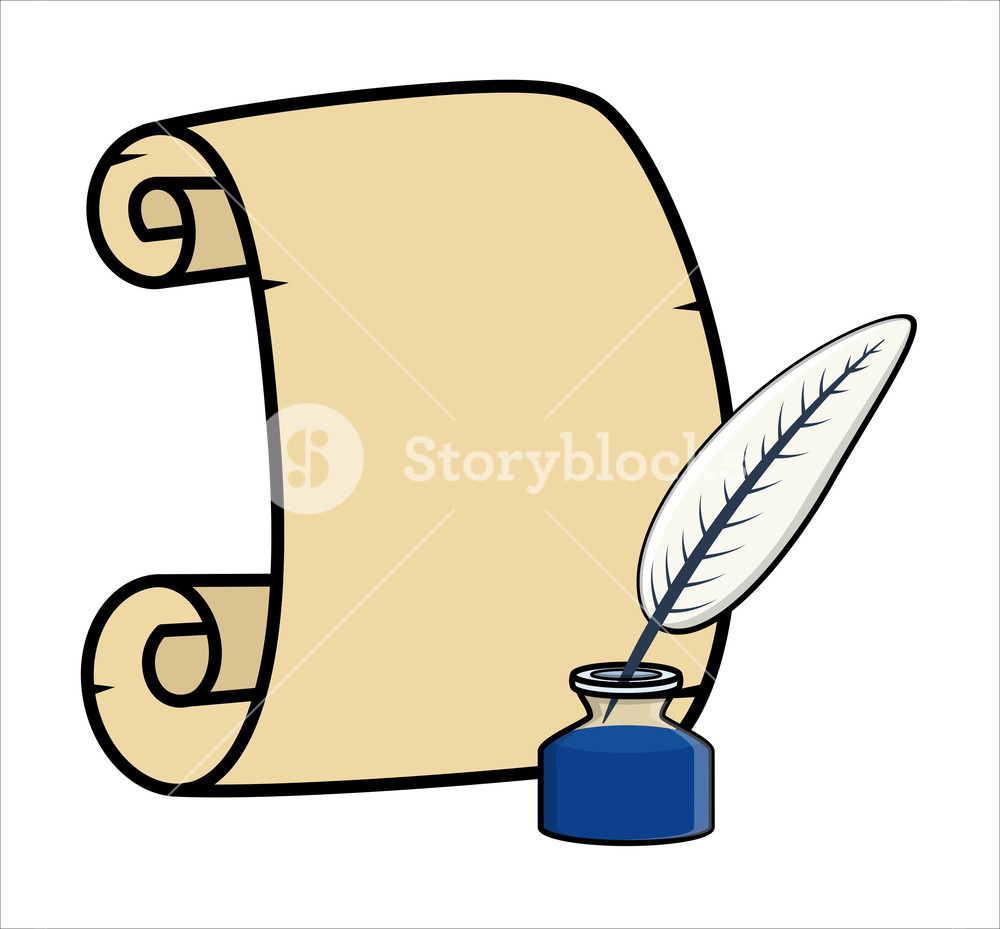 Feather And Parchment Scroll - Cartoon Vector Illustration