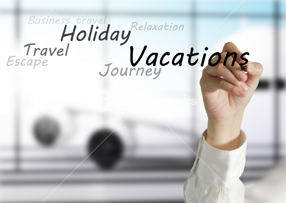 Female Hand Draws Vacations Theme