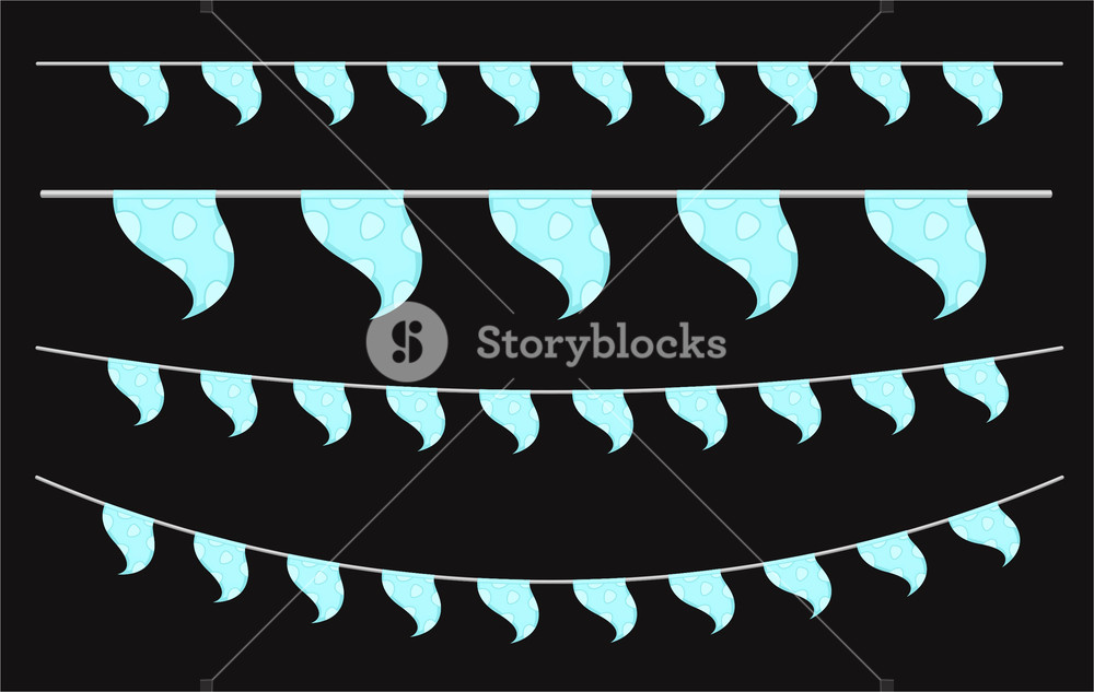 Festive Decorative Paper Flags Elements Design