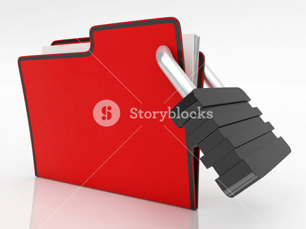 File With Padlock Showing Security