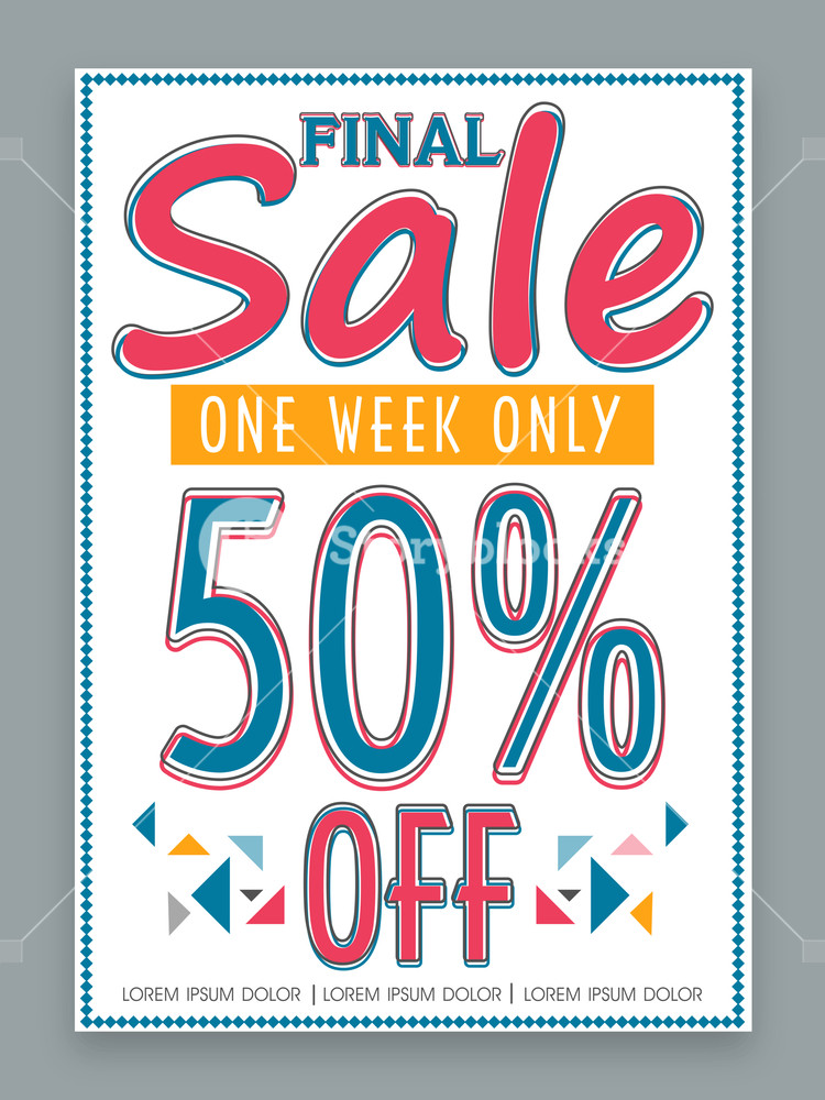 Final Sale poster banner or flyer design for one week only with discount offer.