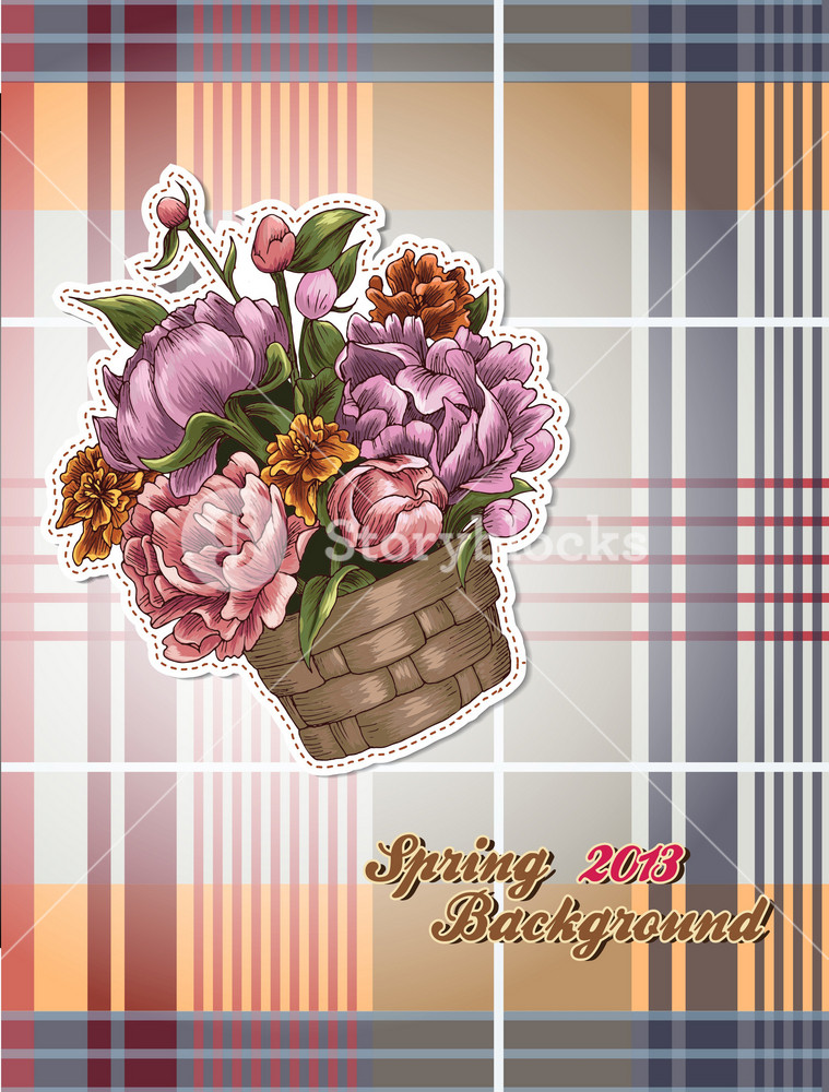 Floral Vector Background Illustration With Floral Bouquet