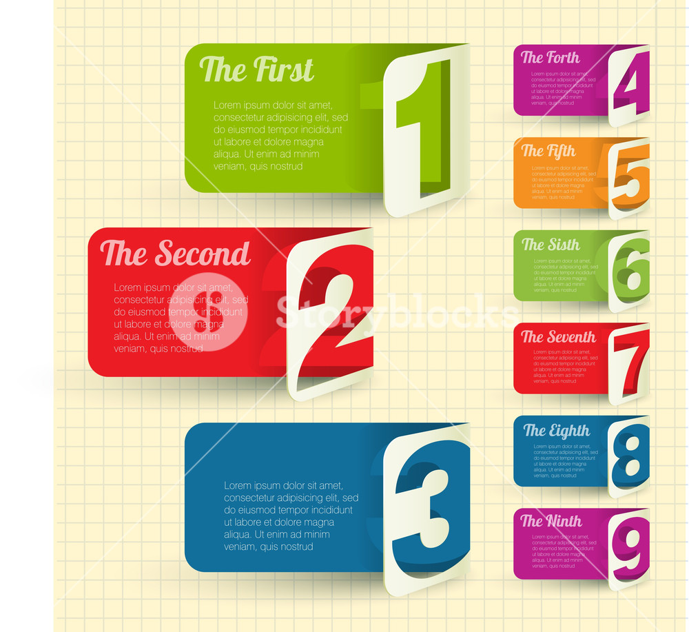 Folded Cardboard Labels With Figures From One To Eight. Vector Design Element Set.
