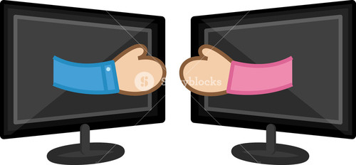 Friendship Over Social Sites  - Business Cartoon Characters Vector