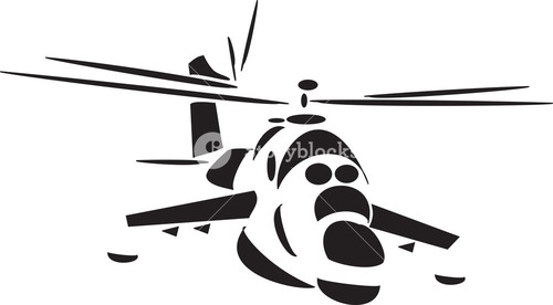 Front View Of A Standing Helicopter.
