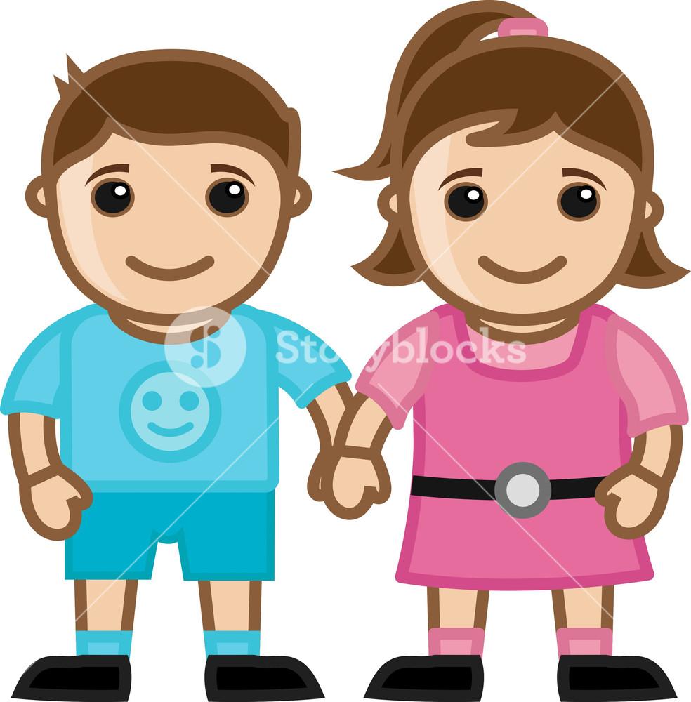 Girl And Boy Cute Kids Vector Character Cartoon Illustration Royalty Free Stock Image Storyblocks