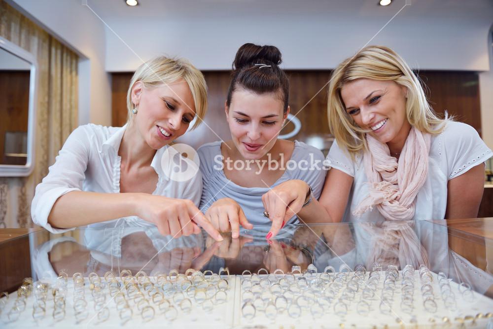 Girls Shopping In Jewelry Store