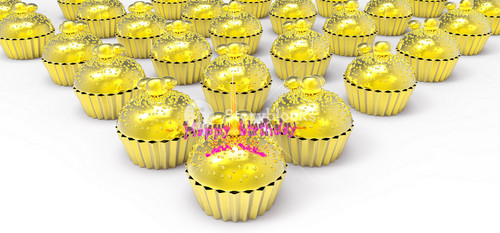 Gold Birthday Cupcake