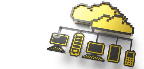 Golden Pixel Cloud Network Icon Sign