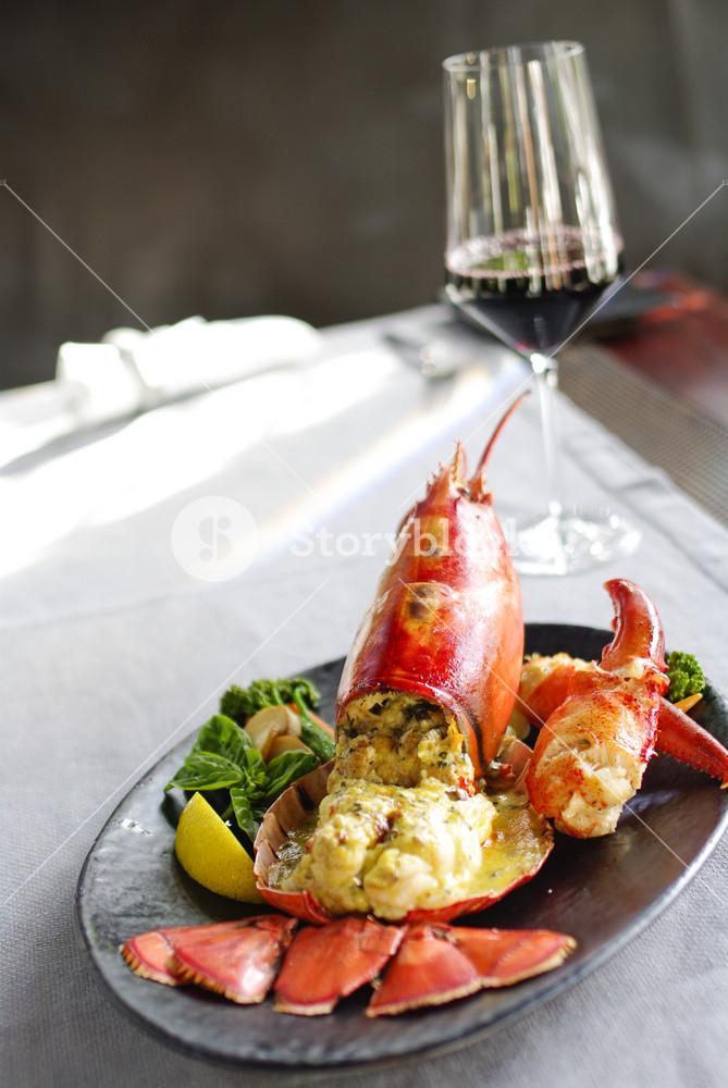 Gourmet lobster dinner at the restaurant