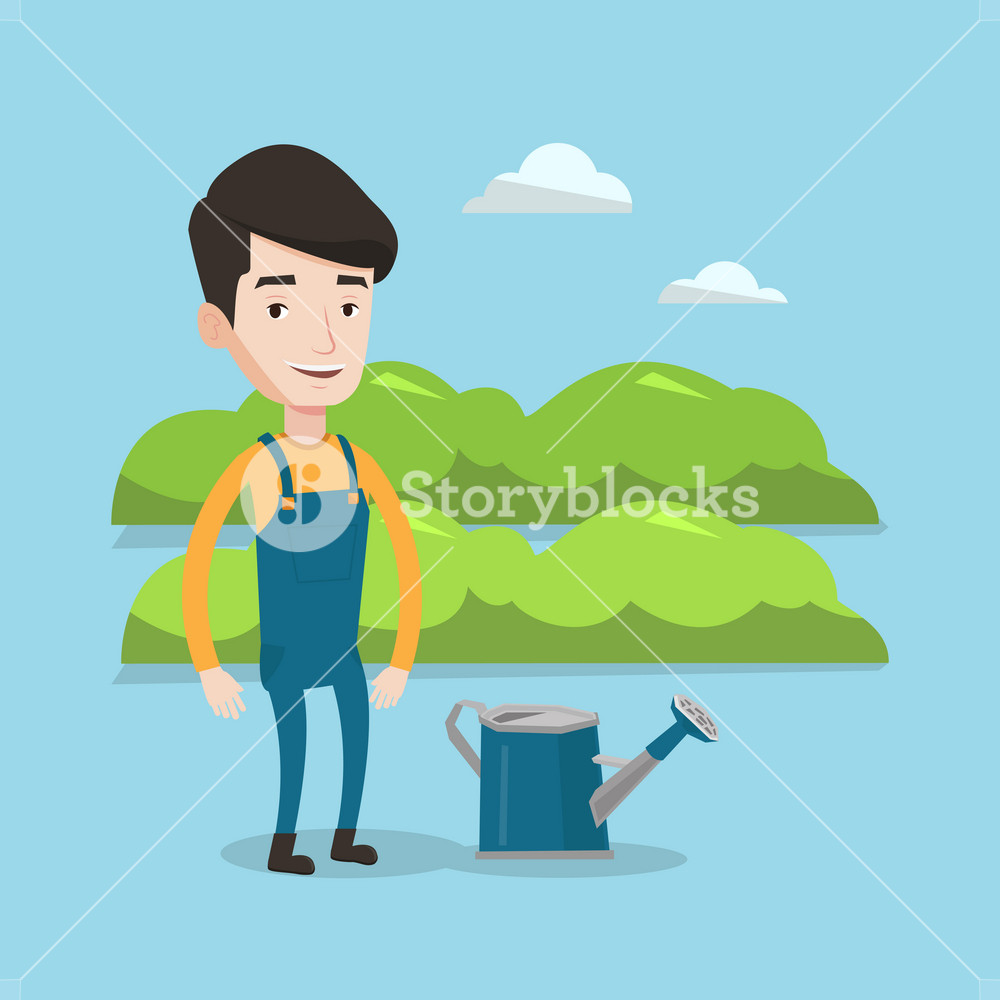A Happy Farmer Standing Near A Watering Can On The Background Of Agricultural Field With Green Bushes Man Watering Plants In Garden Vector Flat Design Illustration Square Layout Royalty Free Stock Image