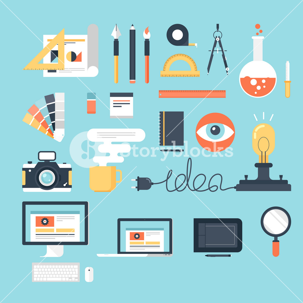 Abstract flat vector illustration of design and development tools. Elements for mobile and web applications.