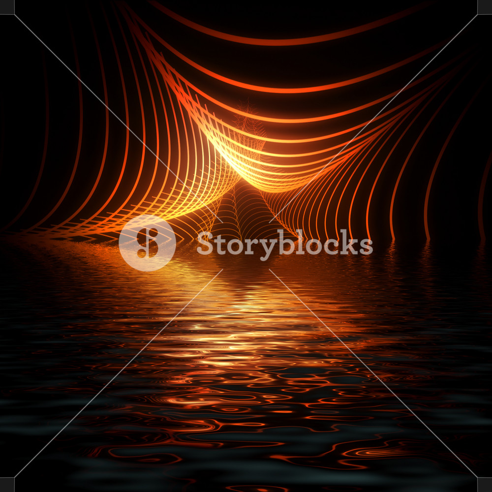 Abstract Glowing Lines on Water