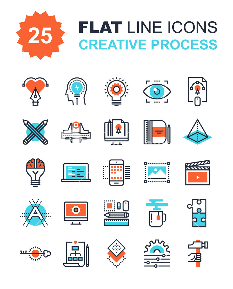 Abstract vector collection of flat line creative process icons. Elements for mobile and web applications.