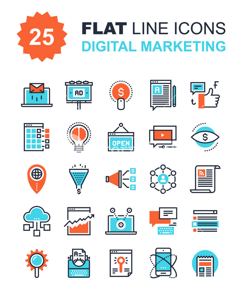 Abstract vector collection of flat line digital marketing ...