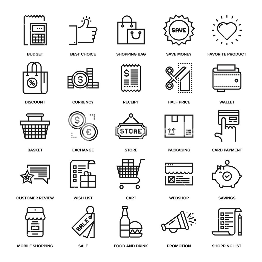 Abstract vector collection of line shopping and retail icons.