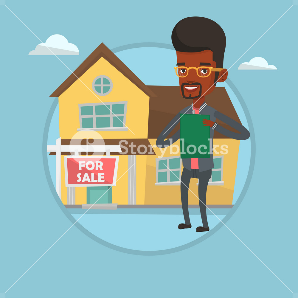 African real estate agent selling a house. Real estate agent signing home purchase contract in front of for sale sign and house. Vector flat design illustration in the circle isolated on background.