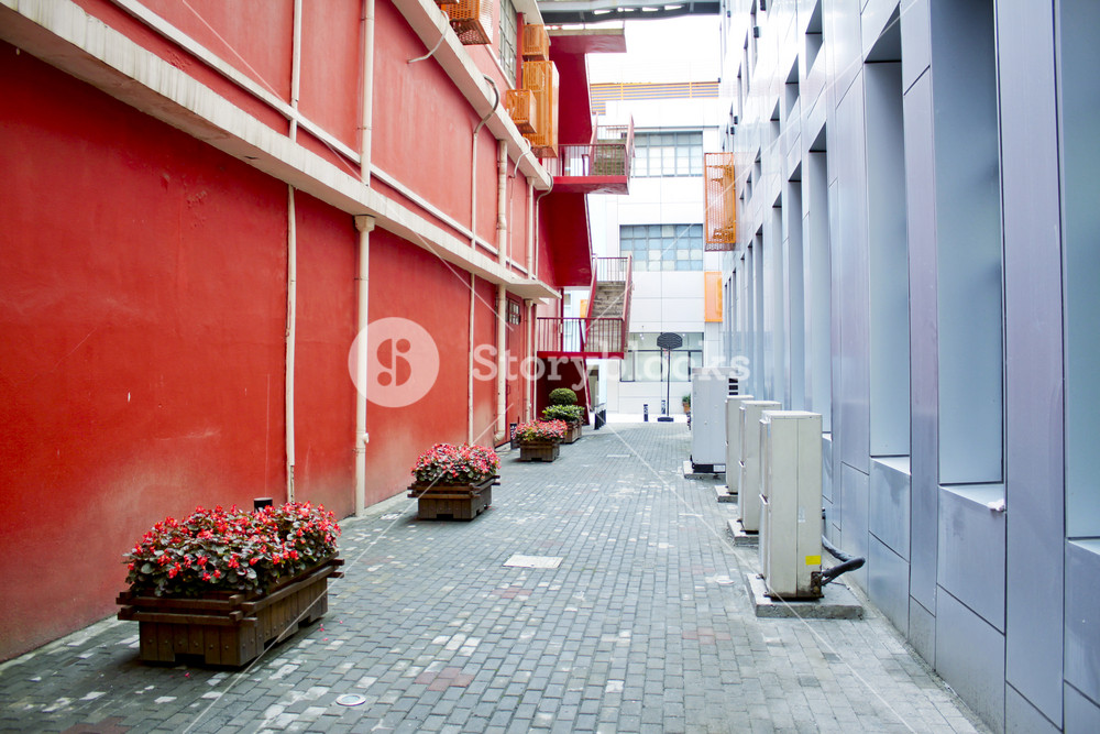 Alley of a modern office building