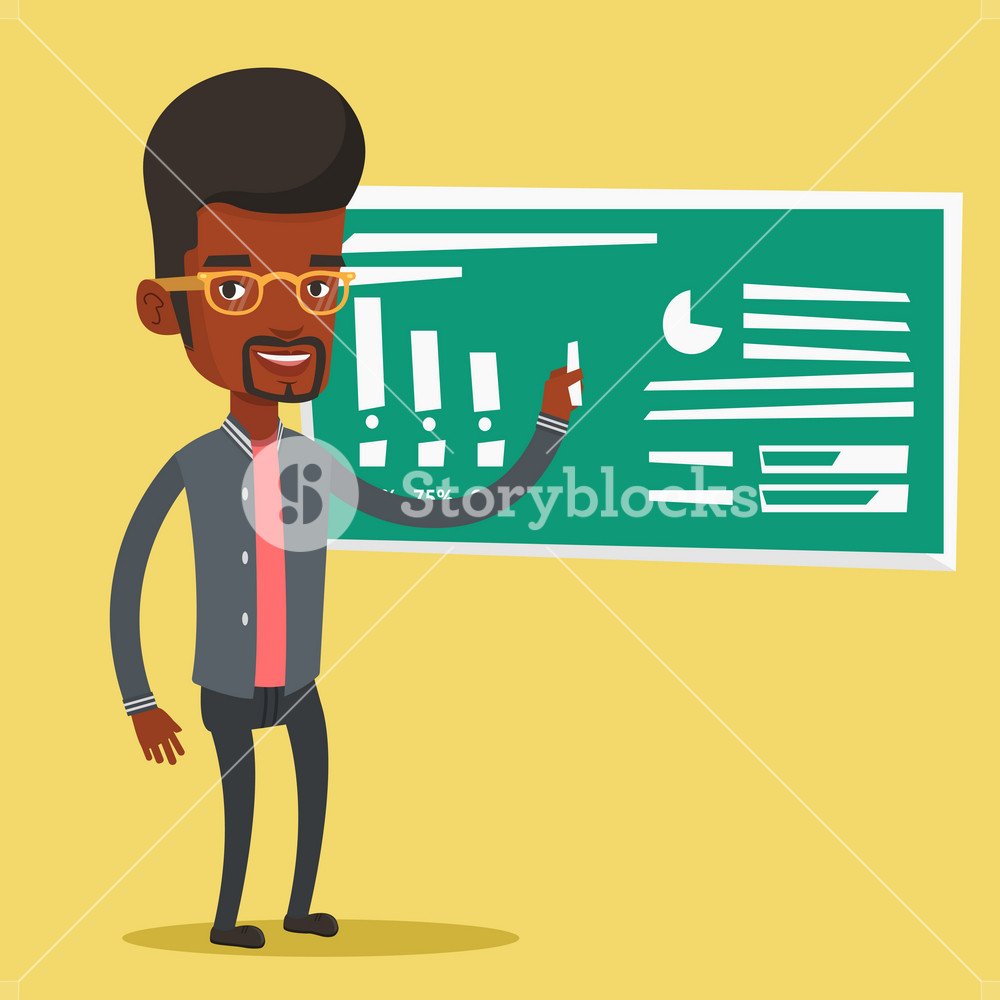 An african-american teacher standing in classroom. Teacher standing in front of blackboard with a piece of chalk in hand. Teacher writing on chalkboard. Vector flat design illustration. Square layout.