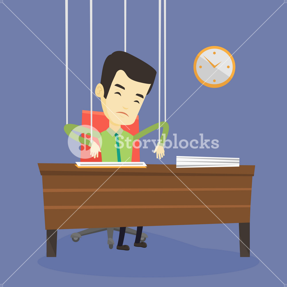 Asian business man hanging on strings like marionette. Business man marionette on ropes sitting in office. Emotionless marionette business man working. Vector flat design illustration. Square layout.