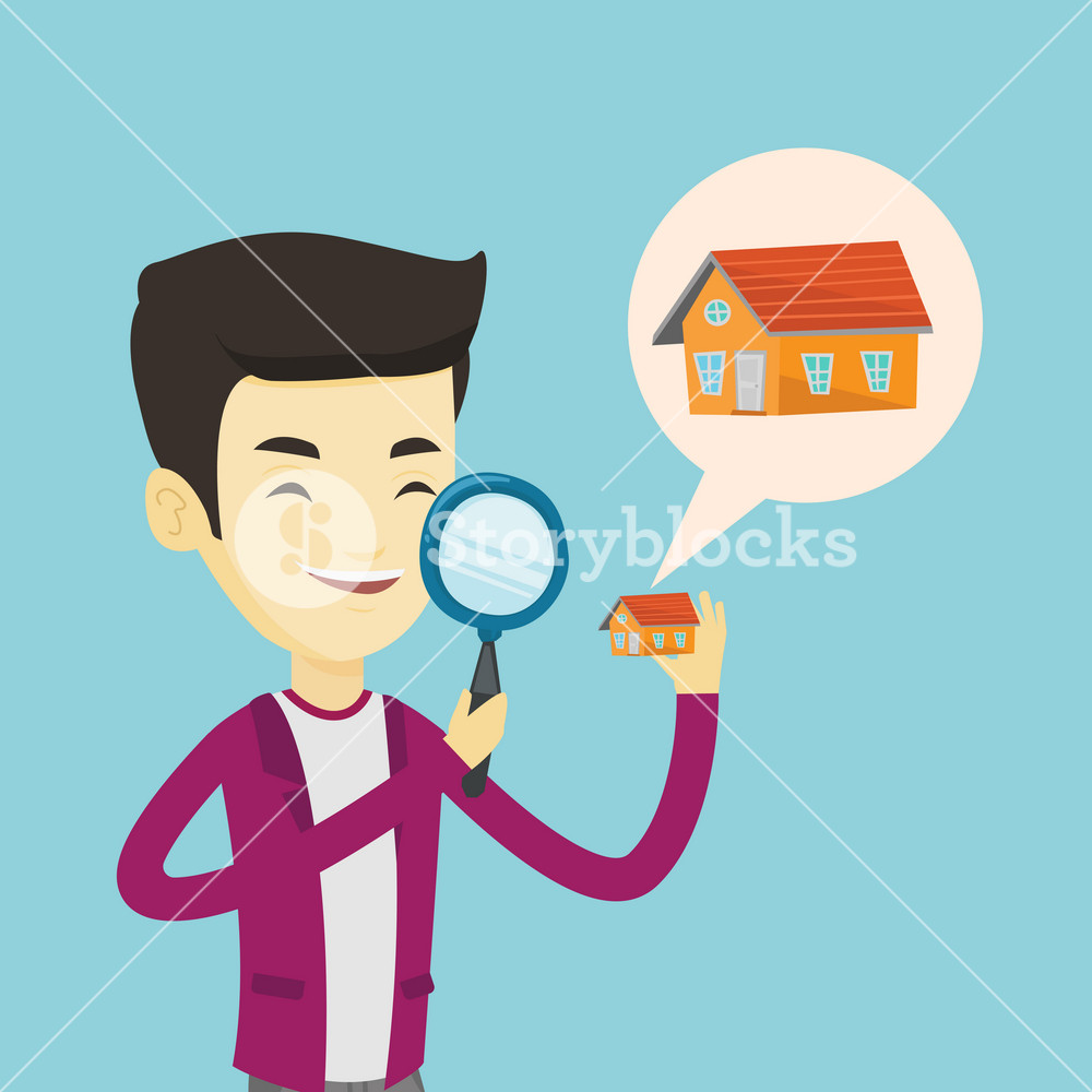 Asian man looking for a new house in real estate market. Young smiling man using a magnifying glass for seeking a new house in real estate market. Vector flat design illustration. Square layout.