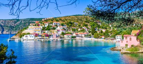 Assos village in beautiful azure cove in Kefalonia, Greece