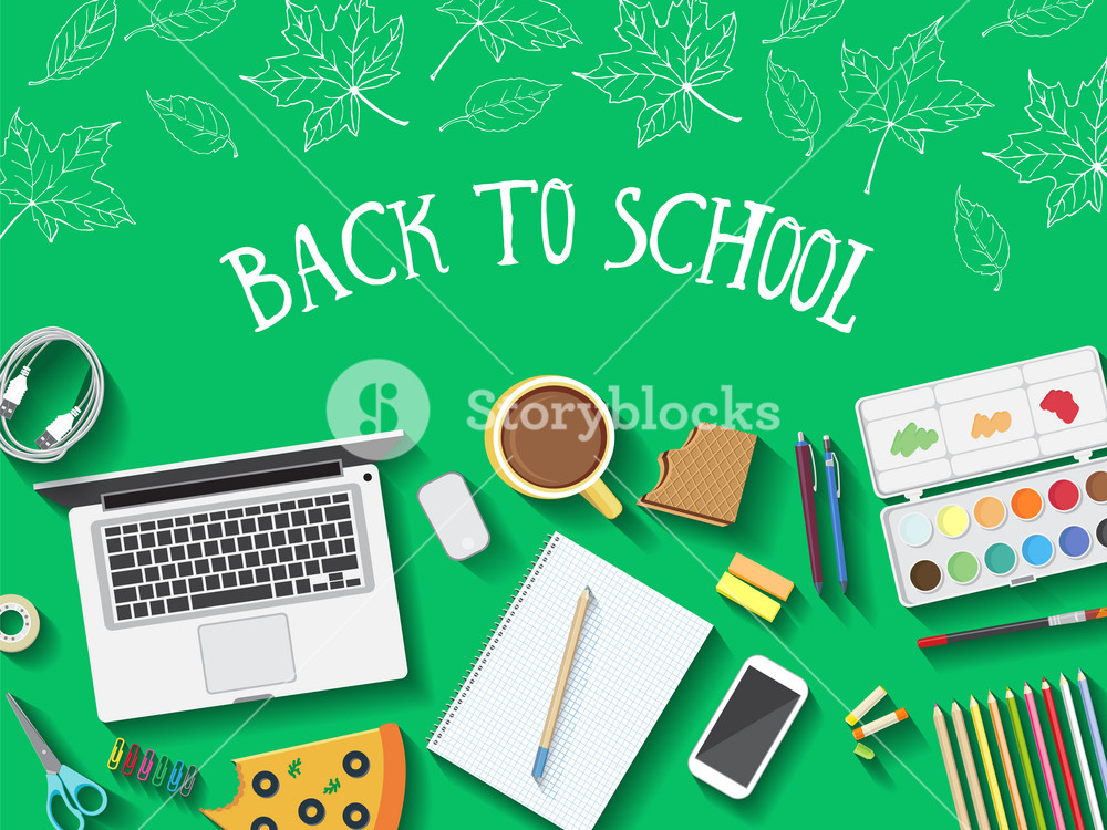 Back to school desktop composition. Vector illustration.