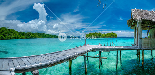 Beautiful Blue Lagoone with some Bamboo Huts, Kordiris Homestay, Palmtree in Front, Gam Island, West Papuan, Raja Ampat, Indonesia