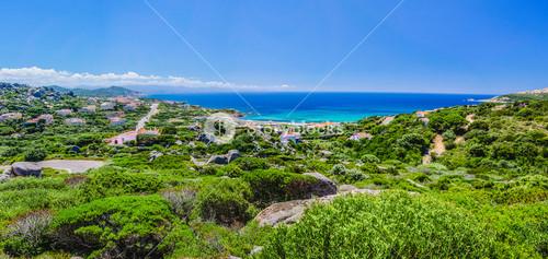 Beautiful overview wide shot of Costa Paradiso, Sardinia, Italy