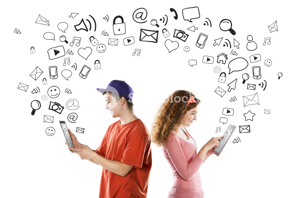 Beautiful young couple with tablets is using social media
