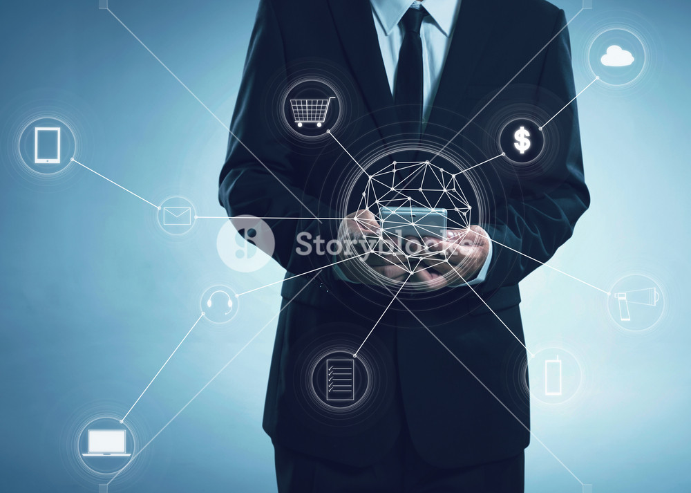 Buisness men and network connection concept