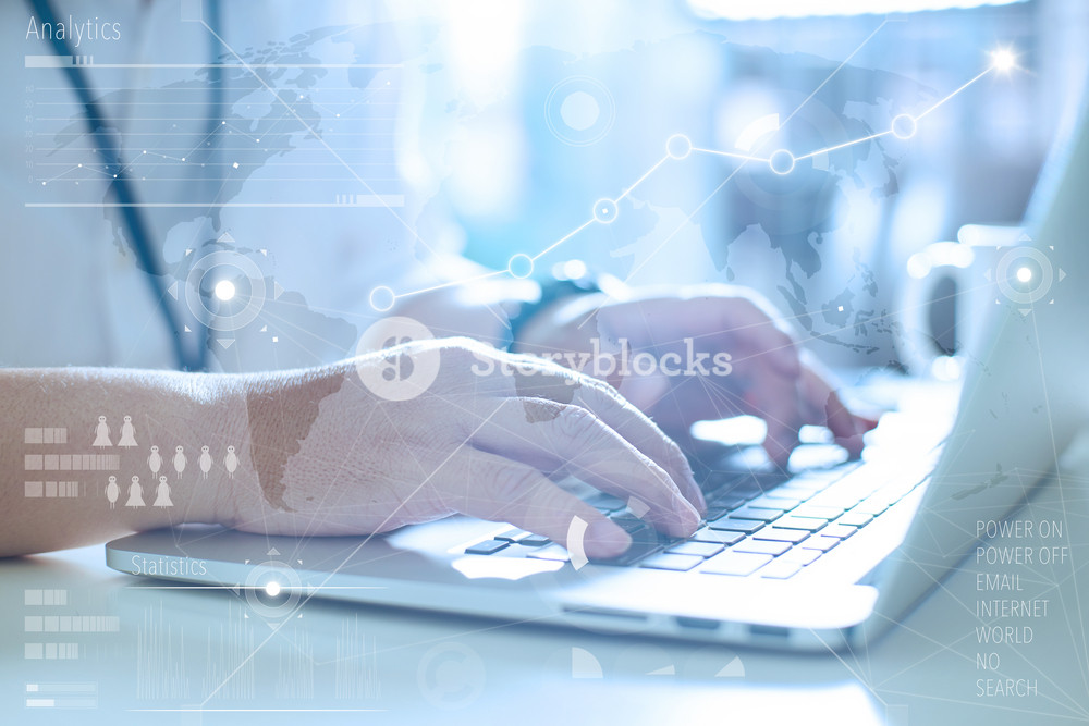 Business concept, businessman working laptop.  Worldwide connection technology interface. Global Strategy Virtual Icon.Innovation Graphs Interface.