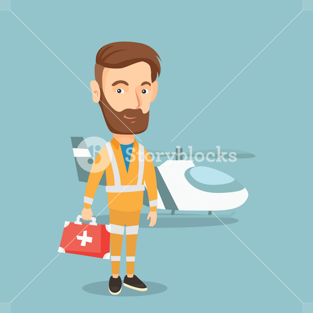Caucasian hipster doctor of air ambulance. Doctor of air ambulance standing in front of rescue helicopter. Doctor of air ambulance with first aid box. Vector flat design illustration. Square layout.