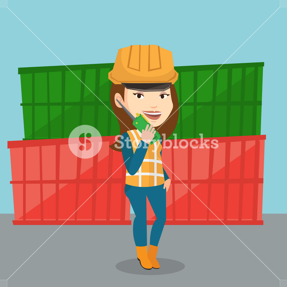 Caucasian port worker in hard hat talking on wireless radio. Port worker standing on cargo containers background. Port worker using wireless radio. Vector flat design illustration. Square layout.