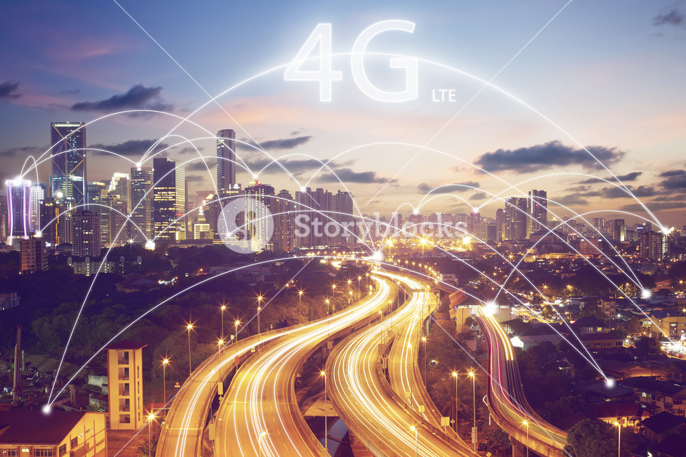 city scape and connection concept and 4g LTE font