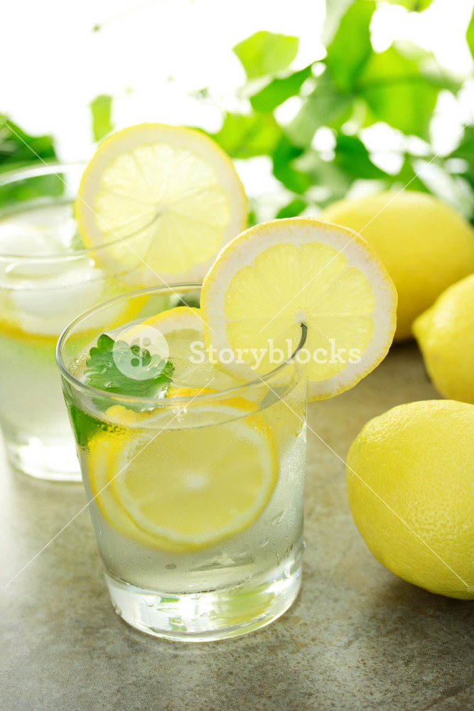 Cold lemon water with fresh lemons with green plants